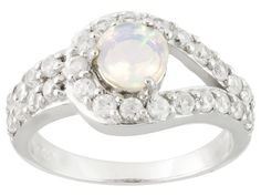 .34ct Round Ethiopian Opal And 1.35ctw Round White Zircon Sterling Sil