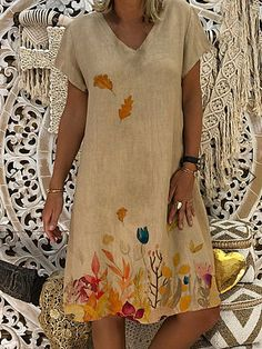 Women dresses knee length streetwear fashion summer dress women plus size cotton linen dress vintage casual vestidos mujer Knee Length Dresses, Short Sleeve Dresses, Dresses With Sleeves, Short Sleeves, Mini Dresses, Party Dresses, Robes Midi, Summer Dresses For Women, Types Of Sleeves