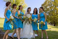 blue dresses with sunflowers