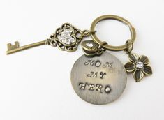 Handmade personalized purse charm for mom Personalized Gifts For Mom, Small Heart, Clear Crystal, Heart Charm, Hand Stamped, Unique Gifts, Purse, Pendant, Handmade