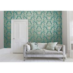 I Love Wallpaper™ Shimmer Metallic Grande Damask Wallpaper Rich Teal / Gold (ILW261522) - Wallpaper from I love wallpaper UK