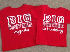 Set of 2 big brother shirts Again and In Training  by OodlesDecals