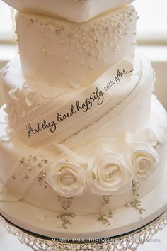 "Disney themed wedding cake ""And they all lived happily ever after""."