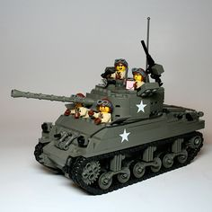 US Sherman tank with crew. #Lego, #Military, #Tank