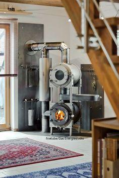 Tyni House, Dome House, Tiny House Cabin, Stove Fireplace, Diy Fireplace, Fireplace Design, Shop Heater, Tiny Wood Stove, Alternative Energie