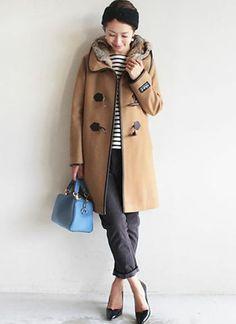 ダッフルコート+ボーダーインナーの冬マリンコーデ【30代】   花子 Fall Winter Outfits, Winter Fashion, Hair Beauty, Winter Jackets, Blazer, Womens Fashion, Ladies Fashion, Chic, My Style