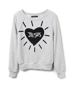To find out about the Light Grey Long Sleeve Heart JESUS Print Sweatshirt at SHEIN, part of our latest Sweatshirts ready to shop online today! Christian Clothing, Christian Shirts, Fresh Tops, Jesus Shirts, Printed Sweatshirts, Women's Sweatshirts, Hoodies, Textiles, Heart Print
