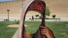 Shiraz, Iran: A cutout of a woman in front of Karim Khani Palace, a former prison. John Moore - Getty Images