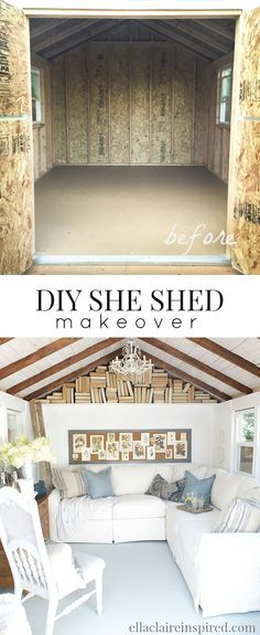 A must-see DIY project! So many gorgeous touches packed into this cozy cottage She Shed!