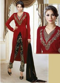 Red And Black Pure Georgette With Heavy Embroidery Work Churidar Suit