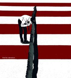 © Ivan Canu for salzmanart.com US election day 2016, for The Boston Globe #editorial #illustration #uselectionday #politics #flag #starsandstripes #conceptual