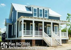 4 bed cottage house plan with 2 porches, 4 beds and a game room. We like!  House Plan 86231HH #beachcottagestylebedroom