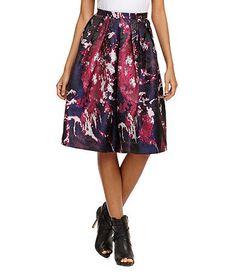 Gianni Bini Berry Jacquard Midi Skirt