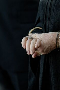 Glimpse of Queen Beatrix of the Netherlands' engagement ring.