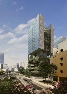 Rascacielos verde para Singapur  Este edificio se está construyendo actualmente en las proximidades del parque Hong Lim situado en Singapur, del que se quiere que sea su continuación urbana.
