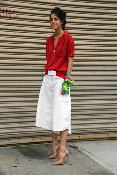 Are You Wondering What I Wore? | Man Repeller #LFW Rachel Comey top, Rosie Assoulin board shorts, Christian Louboutin heelz