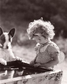 Sepia Dog | Shirley Temple and Dog - Sepia Print by MMG Archives