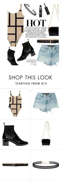 """Swim Suits in the city"" by sofiasolfieri on Polyvore featuring moda, T By Alexander Wang, Pierre Hardy, River Island, Steve Madden, LULUS, StreetStyle, Boots, denimshorts e Swimsuits"