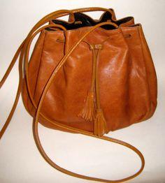 vtg HALSTON 1970s leather bucket shoulder bag hand bag