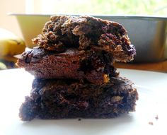 DARK CHOCOLATE BANANA BREAD BROWNIES - sound sinfully unhealthy, right? WRONG!! These delicious little squares are gluten-free and practically dairy-free. Also, there's no added sugar other than the bananas and applesauce. You can have your cake AND eat it too...without feeling guilty!