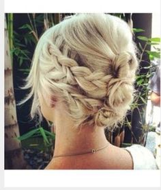 Short hair updo with braids                              …