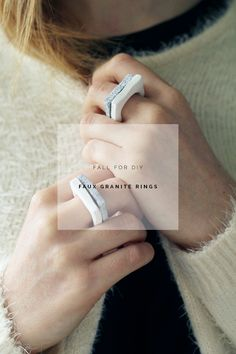 DIY Faux Granite Rings | Fall For DIY - could also do with different shapes - triangles, squiggles, etc.