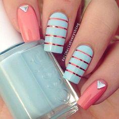 Pastels.  Coral and Blue Spring Easter Nail Art.  Kelowna Gel Nails.  Lac Sensation Manicures Kelowna