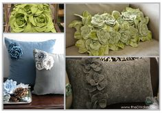 Flower Pillows using Easy Felt Flowers Tutorial