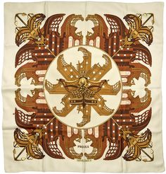 "Designed Philippe Ledoux The scarf or carré was introduced in Forty-three is the highest number of screens used for one scarf to date, which is the ""Charity"" scarf, released in actual condition a scarf. Ledoux, Miss Moss, Hermes Paris, Designer Scarves, Scarf Design, Fashion Prints, Fashion Art, Square Scarf, A Boutique"