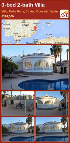 3-bed 2-bath Villa in Villa, Doña Pepa, Ciudad Quesada, Spain ►€228,000 #PropertyForSaleInSpain