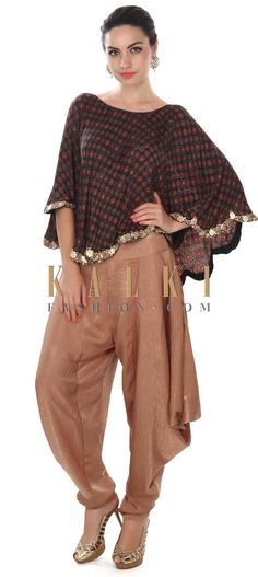 Buy this  Brown printed cape matched with dhoti pants only on Kalki