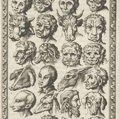 28 koppen van mensen en dieren, Jan Luyken, Willem Goeree, 1682 - Rijksmuseum