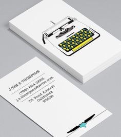 More Vintage Typewriters: Business Cards for Journalists, freelance writers, editors, copywriters, bloggers and novelists don't have to have a way with words – in fact, you can cut out the text altogether! #moocards #businesscard