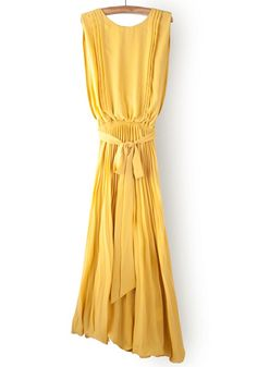 Yellow Pleated Chiffon Dress