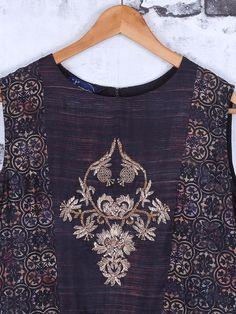 Shop Black printed cotton anarkali suit online from India. New Designer Dresses, Designer Wear, Embroidery Dress, Embroidery Motifs, Embroidery Designs, Cotton Anarkali, Hand Work Blouse, Kurta Designs, Blouse Styles