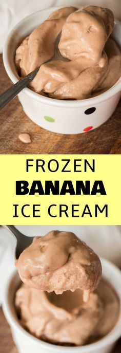 EASY Frozen Banana Ice Cream recipe! This tastes just like soft serve, no ice cream maker needed! All you need is 3 ingredients: 2 frozen bananas, 1 tablespoon peanut butter and 1 teaspoon cocoa powder. This is the perfect healthy diet ice cream!