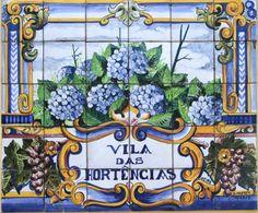 "tile mural, ""Hydrangeas Villa"""