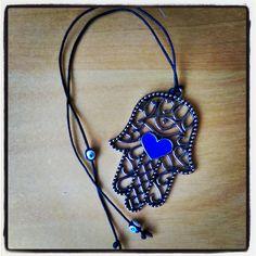 Hamsa eye heart charm with Turkish nazar beads.