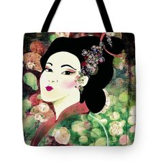 """Kimono Autumn Tote Bag (18"""" x 18"""") by Sand And Chi  .  The tote bag is machine washable, available in three different sizes, and includes a black strap for easy carrying on your shoulder.  All totes are available for worldwide shipping and include a money-back guarantee."""