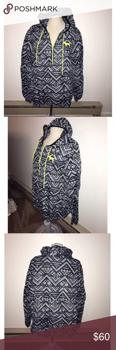 PINK Anorak PINK Victoria's Secret grey Aztec print Anorak size M/L in new condition. NWOT PINK Jackets & Coats