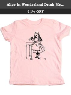 Alice In Wonderland Drink Me Scene Girl Toddler T-shirt, 2T, Pink. Classic drawing from the Drink Me scene in Lewis Carroll's 1865 novel Alice In Wonderland. This unique design is printed on a 100 percent cotton Pink toddler shirt, made in the USA and printed in Portland, Oregon. Select from a wide variety of colors and sizes, allowing you to create toddler boy shirts, toddler girls shirts or gender neutral baby clothes. Each design is a Baby Wit original making these the coolest baby…