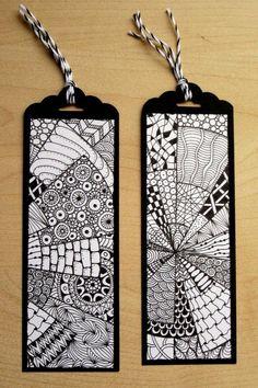 Lesezeichen - 2 Stk. Handarbeit aus Karton und Papier von Hand gezeichnet im Zentangle-Design ca. 15 x 5 cm