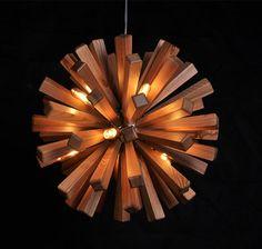 Holz-Deckenleuchte - Hängeleuchte - Deckenlampe - Lampe Holz Lampe - moderne Wohnkultur - Feuerwerk - einzigartig - Kunst