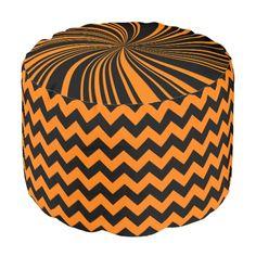 School Colors Chevron Pouf Seat,Orange-Black Round Pouf #zazzle #pouf #seat #schoolcolors #orange #black #chevron #twirl #dormgifts #kidsroom