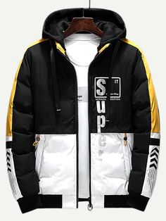 To find out about the Men Color Block Letter Print Hooded Puffer Coat at SHEIN, part of our latest Coats & Jackets ready to shop online today! Pop Fashion, Asian Fashion, Mens Fashion, Fashion Styles, Look Man, Men's Coats And Jackets, Windbreaker Jacket, Sweater Jacket, Swagg
