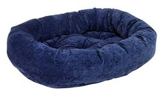 Bowsers Navy Filigree Microvelvet Donut Dog Bed