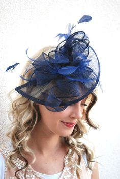 Navy Blue Fascinator, Womens Tea Party Hat, Church Hat, Derby Hat, Fancy Hat, Royal Blue Hat, Tea Party Hat,wedding hat by QueenSugarBee on Etsy https://www.etsy.com/listing/247469832/navy-blue-fascinator-womens-tea-party