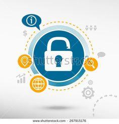 Open lock icon. Creative design elements. Flat design concept