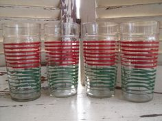 4 Vintage Retro Kitchen Red Green Striped Tumblers by cindyscozyclutter on Etsy