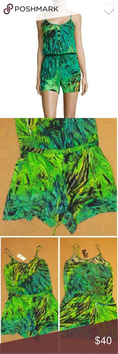 Brand NWT Gorg Forrest green print cami romper Brand new never worn all original tags still attached Cami romper full description in 4th pic Ana  Pants Jumpsuits & Rompers